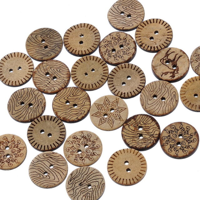 100 Mixed Pattern Coconut Shell 2 Holes Sewing Buttons Scrapbooking 18mm B19958