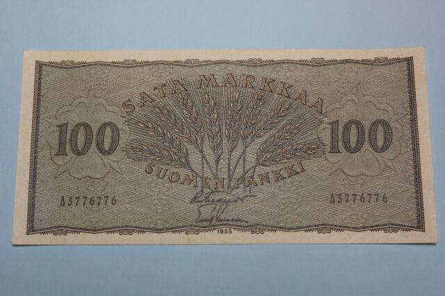 1955 FINLAND FINNLAND 100 MARKKAA BANKNOTE PICK#91A AUNC