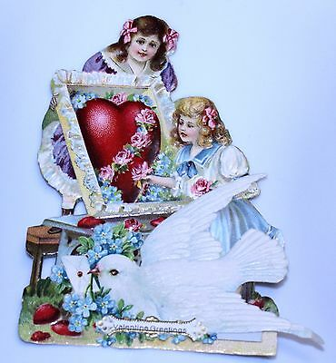 vintage VICTORIAN GIRLS dove VALENTINE card c. early 1900's GERMANY unsigned