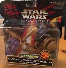 "STAR WARS 1999 EPISODE 1 ELECTRONIC GUNGAN CATAPULT ACCESSORY SET ""SUPER BRIGHT"""