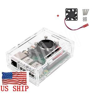 Clear-Acrylic-Case-Enclosure-Box-w-Cooling-Fan-for-Raspberry-Pi-3-B-B-B-plus
