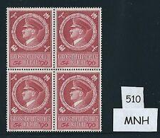 Mint stamp block / Adolph Hitler / Nazi Germany / 1944 Birthday issue / MNH