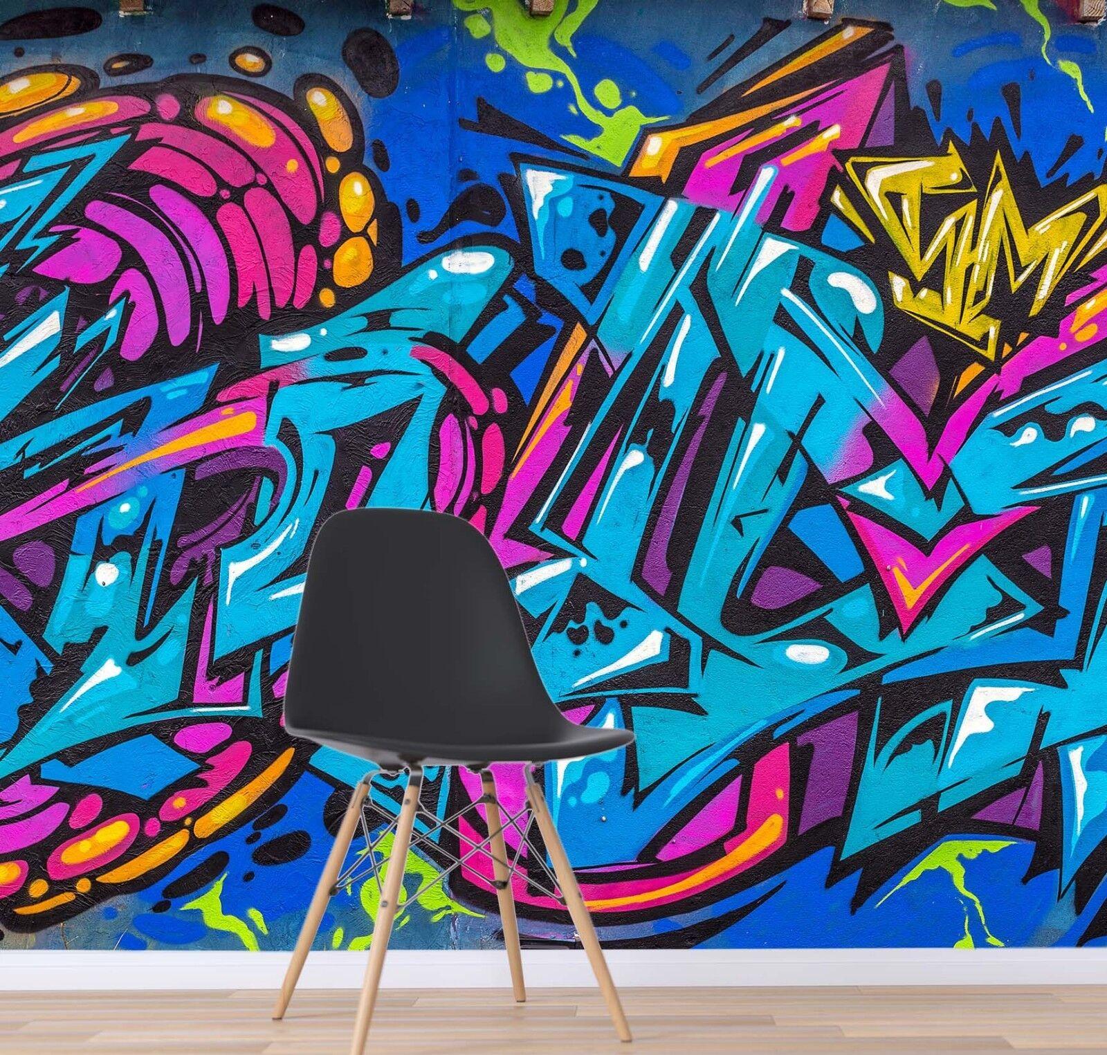 3D Blau Graffiti 7003 Wallpaper Mural Paper Wall Print Indoor Murals CA Summer