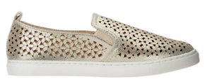 Isaac Mizrahi Live! SOHO Leather Perforated Sneakers GOLD 8M