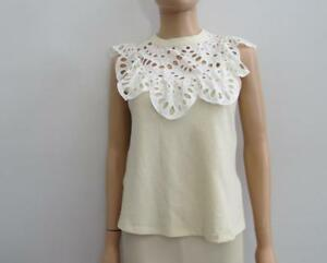 41c23fcced37e6 See By Chloe Butter Cream Cotton Lace Ruffle Sleeveless Blouse Top ...
