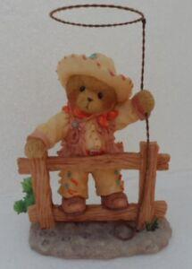 CHERISHED-TEDDIES-TEX-Cowboy-On-Fence-With-Lasso-2005-Retired