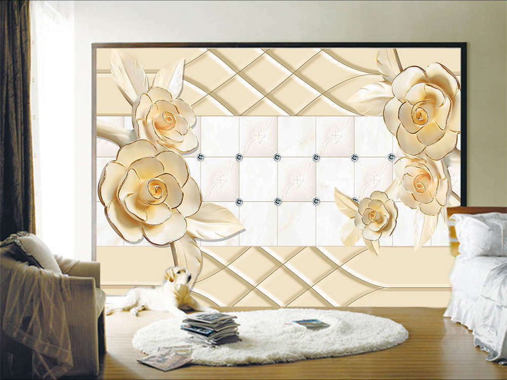 Gold Graceful Flowers 3D Full Wall Mural Photo Wallpaper Printing Home Kids Deco