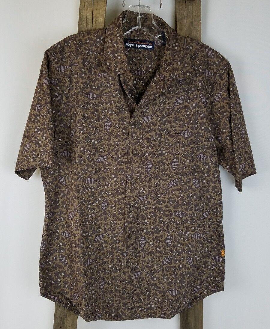Reyn Spooner men M cotton classic fit button front Hawaiian shirt short sleeve