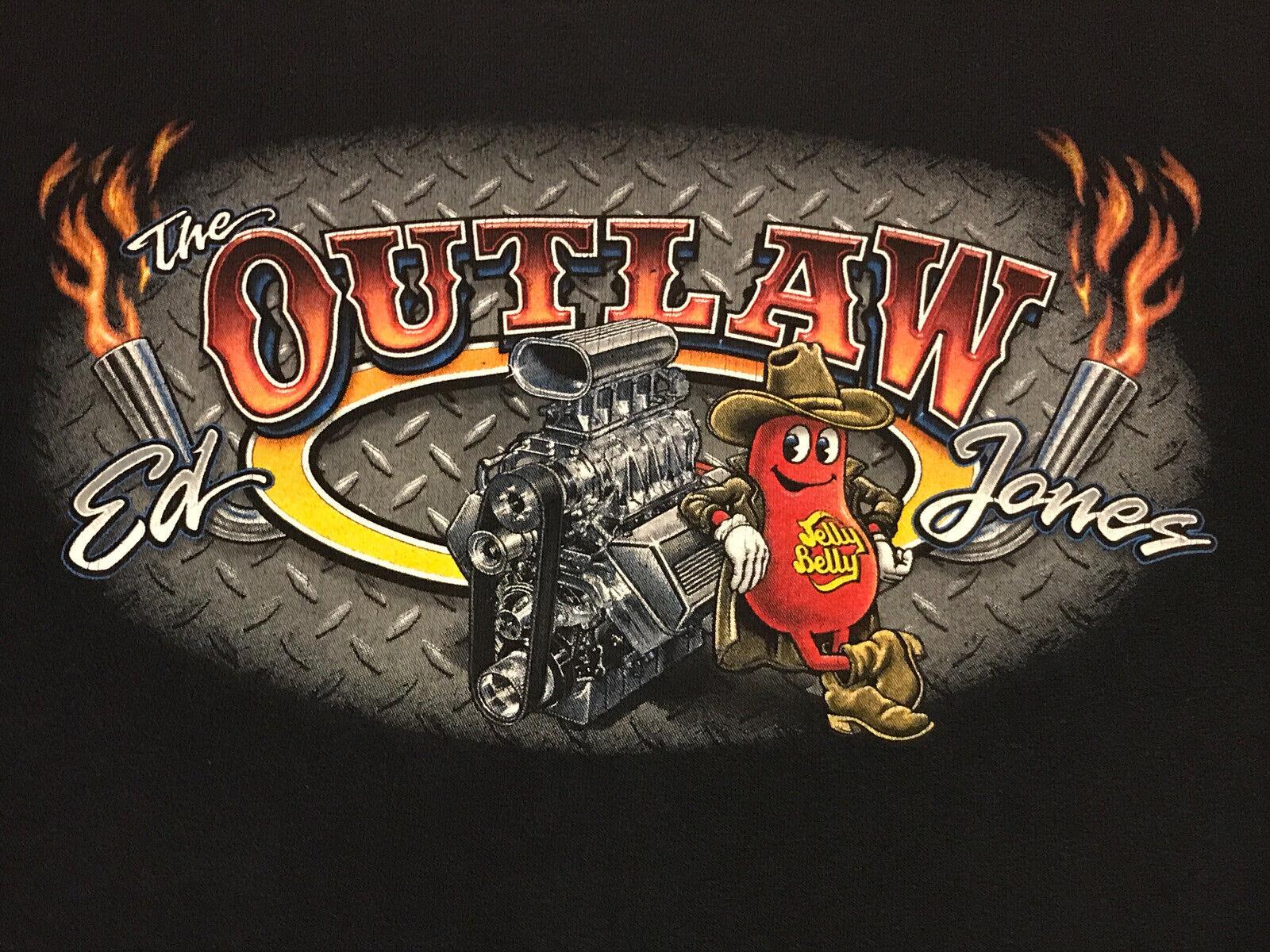 "VTG 90s Jelly Belly Ed ""The Outlaw"" Jones Wheel Standers Drag Racing T Shirt LRG"