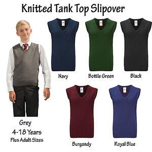 Boys-Girls-Knitted-Tank-Top-Sleeveless-V-Neck-School-Jumper-Uniform-Ages-4-18
