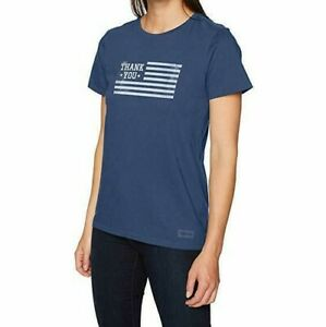 Life-Is-Good-Womens-Crusher-T-Shirt-Thank-You-Veterans-Flag-Small-Blue