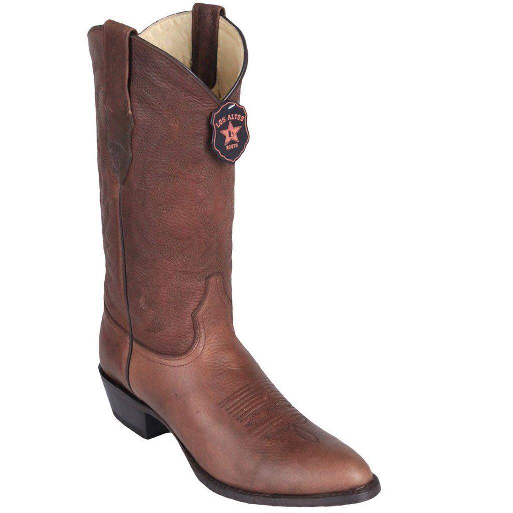 Para hombres Cuero Genuino Los Altos Marrón espeluznante botas de vaquero occidental D Punta rojoonda