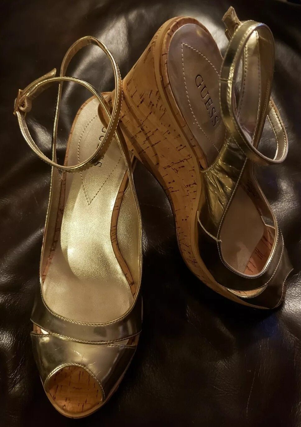 Guess gold Patent Leather & Cork Peep Toe Ankle Wrap Wedge Size 8M