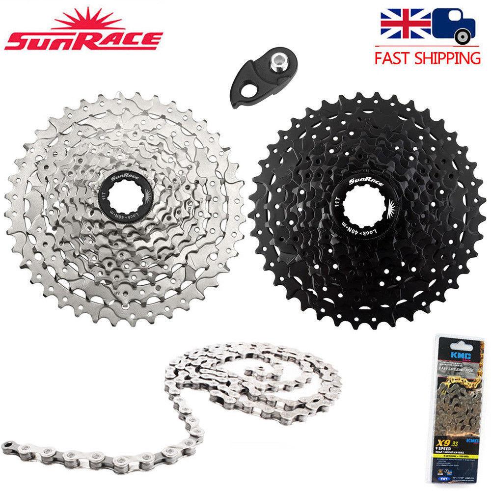 UK SunRace 9 Speed 11-40T Cassette Chain 9S MTB Bike Freewheel fit Shimano SRAM