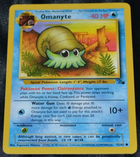 2X Omanyte # 52/62 Unlimited Fossil Set Pokemon TCG Game Trading Cards Water X2