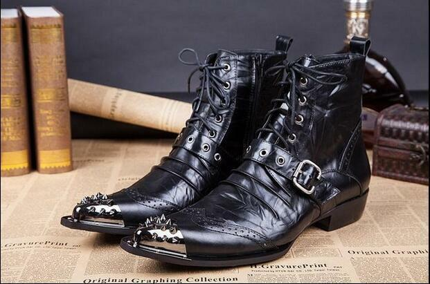 Mens New Stylish Spike Leather Lace Up Buckle Strap Brogue Ankle Boots shoes T47