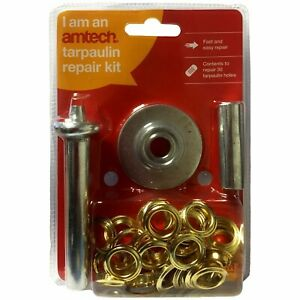 GROUNDSHEET REPAIR HOLE KIT EYELETS GROMMETS TOOL TARPAULIN TARP TENT AWNING UK