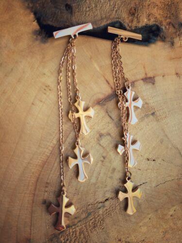 Cruces de oro rosa y cadena larga pendientes tendencia fiesta boho
