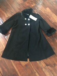 New-Gorgeous-Baby-Girl-Little-Girl-Black-Silver-Accent-Coat-Size-24-Months-NWT