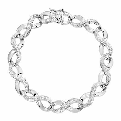Infinity Link Bracelet with Diamond in Sterling Silver-Plated Brass