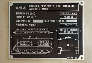 Details about M113 Shipping Data Plate Armored personnel carrier APC Full  Tracked