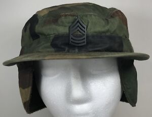 2454e073a39 Details about Army Combat Pin Field Cap Ear Flaps Hat Military Woodland Camo  Green USA 7 1 4