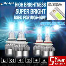9005 9006 Led Headlight Bulbs Conversion Kit High Low Beam Bright Ice Blue 8000k