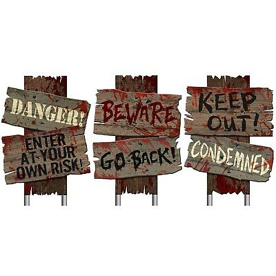 Cemetery Footpath Sidewalk Warning Signs Halloween Decoration Props Set of 3