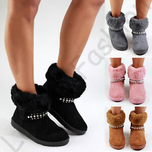 New-Womens-Winter-Style-Flat-Boots-Fur-Lined-Apres-Ski-Casual-Warm-Comfy-Shoes