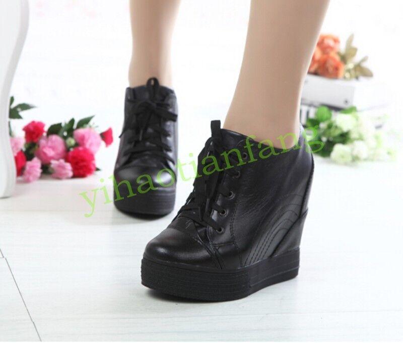 Ladies donna Hidden Wedge Heel High Top Leather Trainer Trainer Trainer scarpe da ginnastica avvio Spring HOT b9df2d