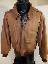 Vtg Global Identity G-III Brown Leather A2 FLIGHT Jacket BOMBER Aviator Coat L