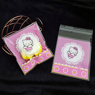 Self adhesive flying kitty cat cello cellophane party treat cookie candy bag