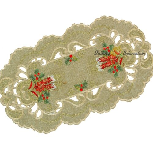 Embroidered Christmas Tablecloths Table runners Doily Linen-look Green Beige