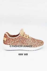 f6cdaf883ec7 Kid s Rose Gold Glitter Sneakers Tennis Shoes Lace Up Flats ...