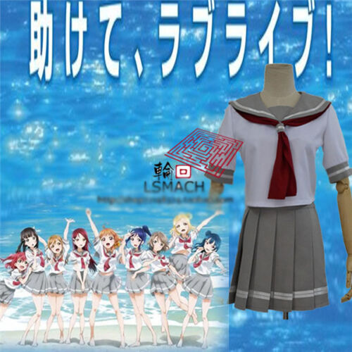 Love Live!Sunshine New Group Cosplay Costume Gray White Uniform