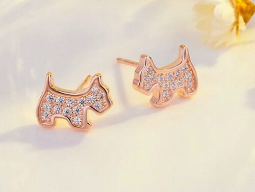 Dog 925 Sterling Silver Pendant Chain Necklace Stud Earring Women Jewellery Gift