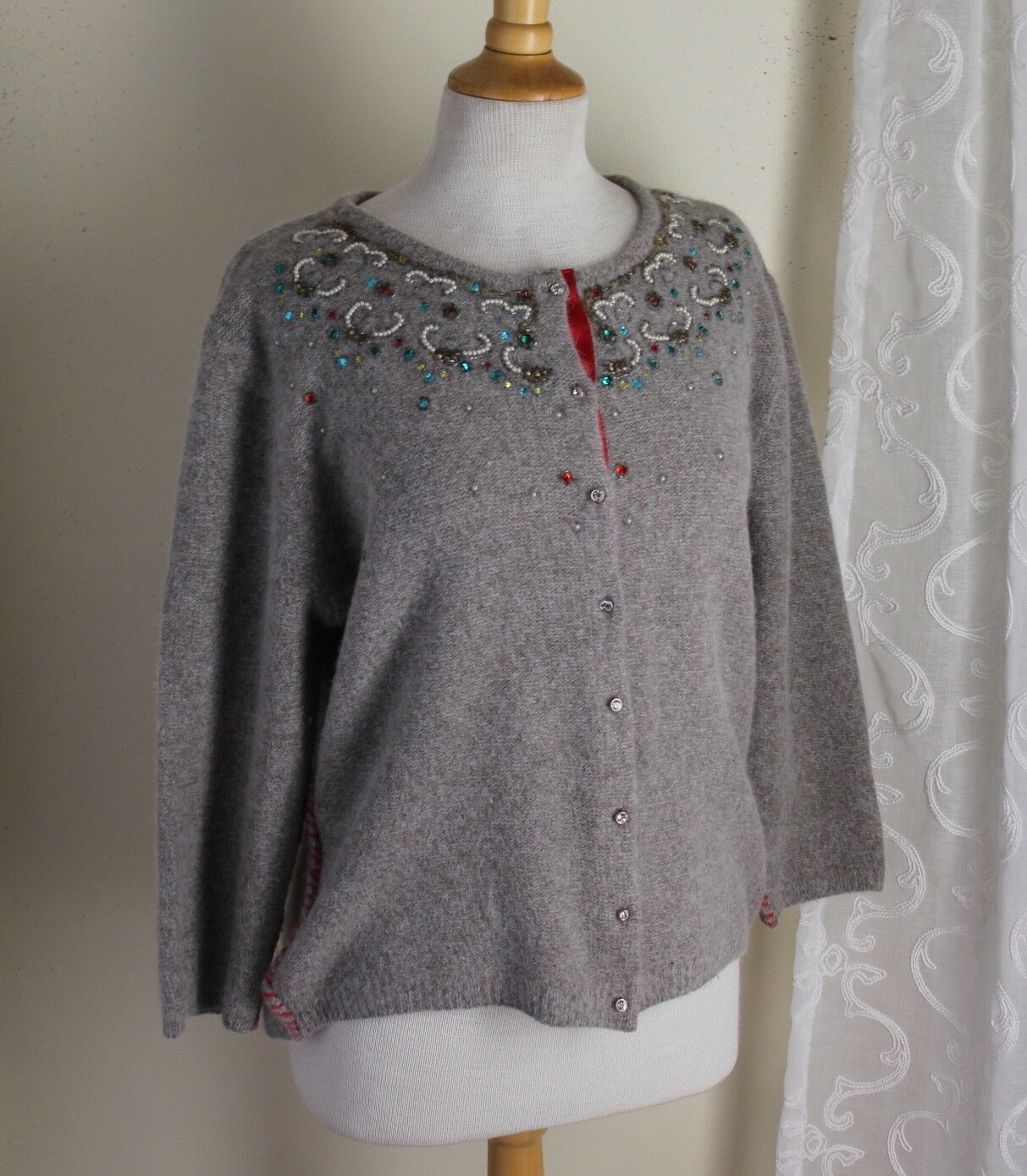 Soft Surroundings -Sz L Vintage Inspirot Funky Fun Beaded Cardigan Sweater