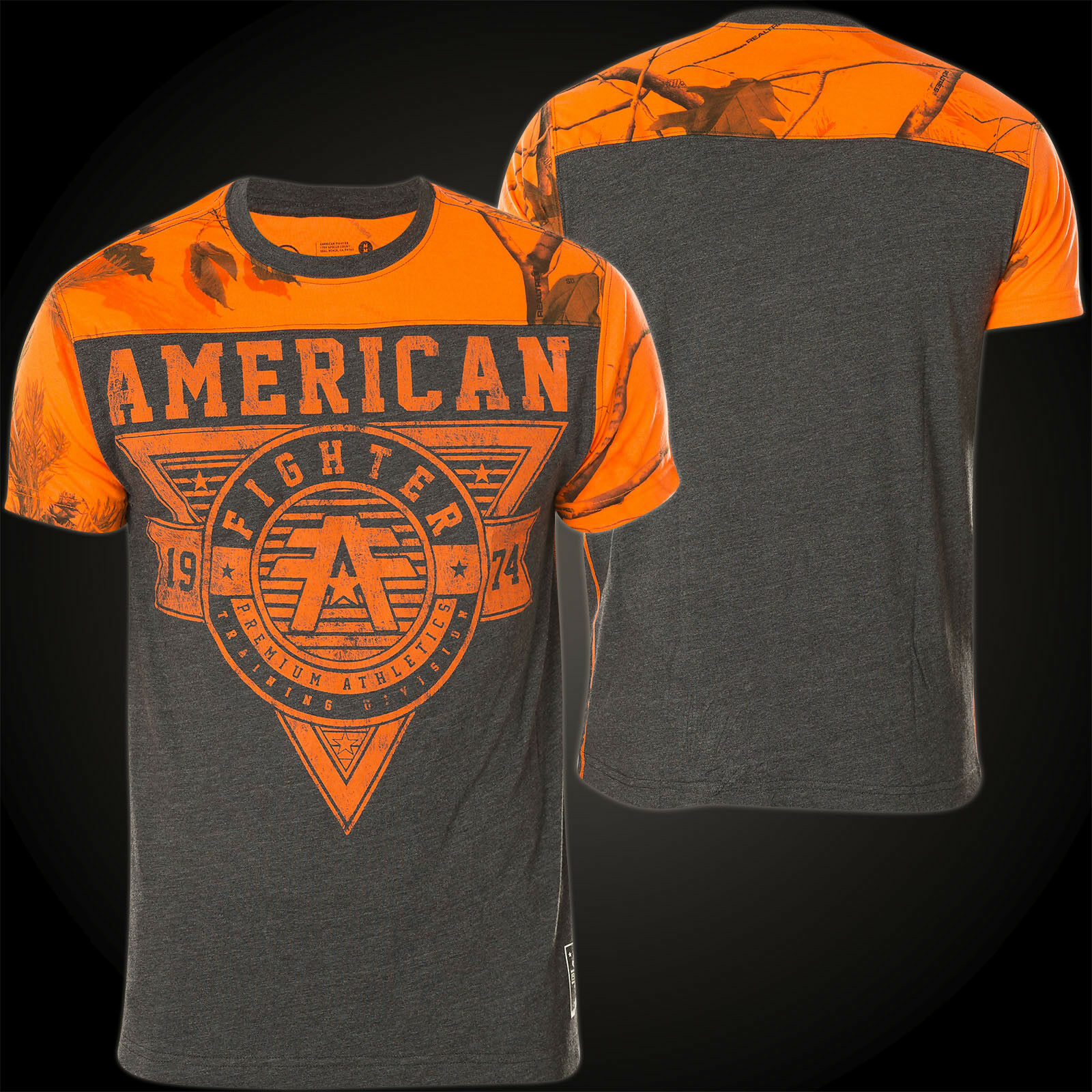 AMERICAN FIGHTER Affliction T-Shirt Charleston Scratch grey orange