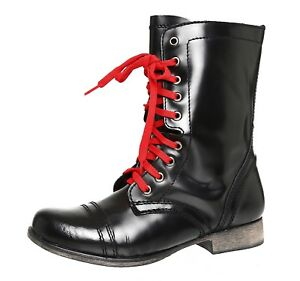 a5908d42994 Steve Madden Troopale Lace Up Leather Combat Boots Black Women Sz ...