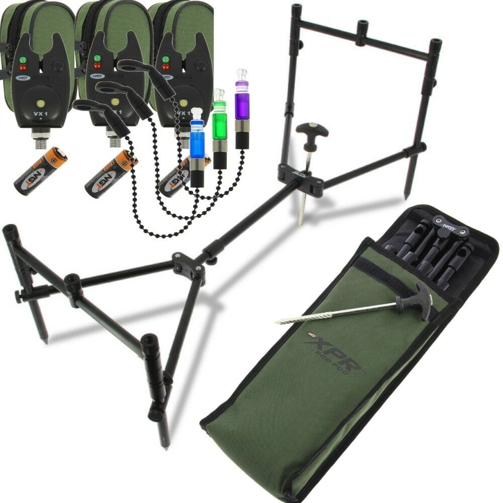 NGT XPR Rod Pod Carp Fishing 3 Rod with 3 Bite Alarms and 3 Bite Indicators