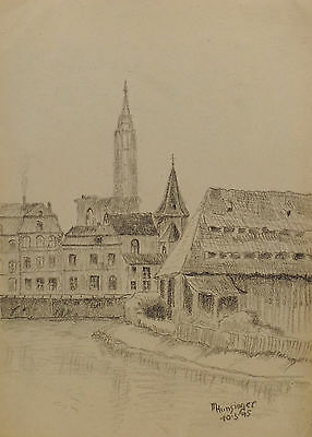"Art Drawings "" Strasburg With Canal View "" Lead/charcoal Sign Dat M.hunsinger 10.3.1945"