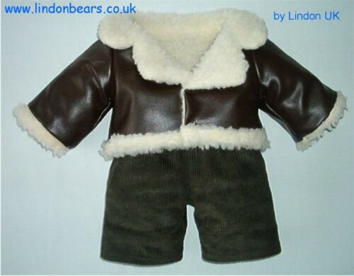 """LINED /& CORD TROUSERS FLYING JACKET FITS TEDDYBEARS 16""""//40CM TALL MADE IN UK"""