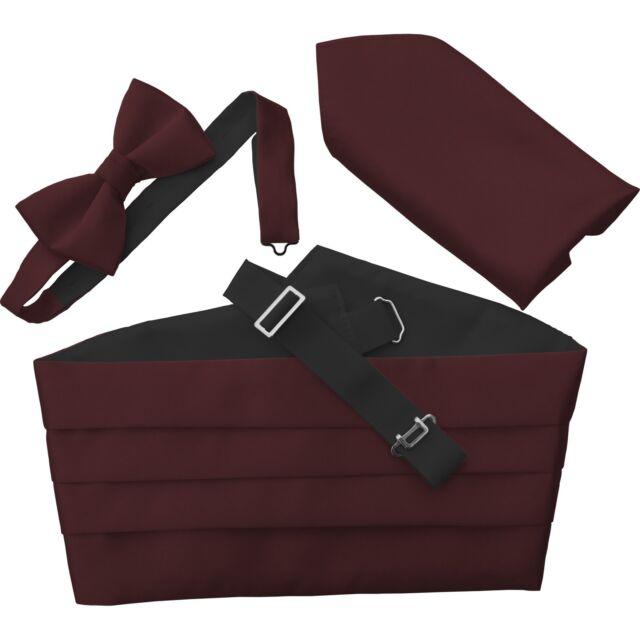 Italian Satin Bow Tie + Cummerbund + Hanky Handkerchief