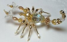 Collectible OOAK Beaded Scorpion Crystal And Gold Scorpio Desk Pet Ornament