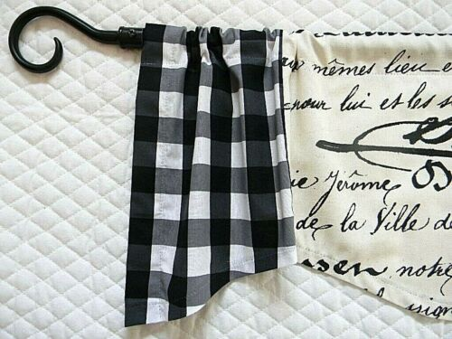 FRENCH COUNTRY FARMHOUSE~Black~Buffalo check~CREAM~Valance~Window Topper~Curtain