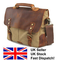 Vintage Retro Satchel Briefcase Messenger Tote Leather and Canvas Shoulder Bag