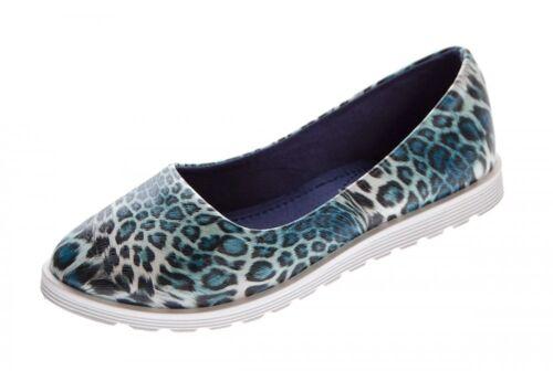 Damen Ballerinas Animal-Print Schuhe Blau Braun Slipper flach Sandalen 36-41