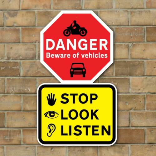 School Road Sign STOP LOOK LISTEN Sign Kid Road Safety Sign Busy Road Sign