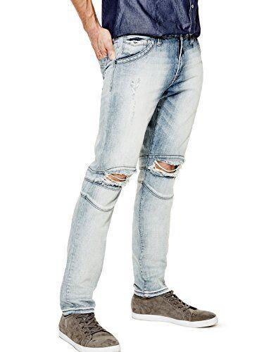 GUESS Men's Kenton Slashed-Knee Skinny Jeans in Light Wash