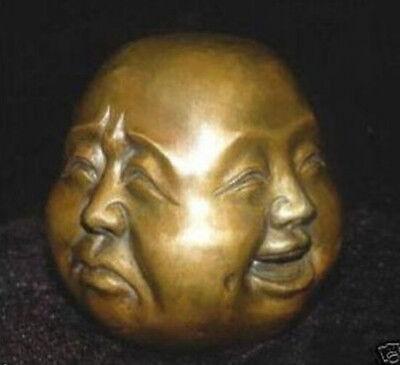 Tibet bronze engrave 4 face Buddha statue Decorative 4X5 CM
